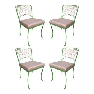 Woodard Wrought Patio/Outdoor Floral Pattern Table and Chairs Picnic Set For Sale