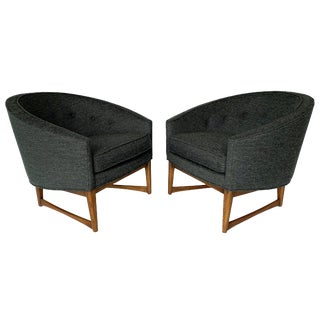 1950 Lawrence Peabody Barrel Back Horseshoe Shaped Lounge Chairs - a Pair For Sale