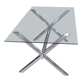 1970s Italian Chrome X-Base Trestle Dining Table For Sale