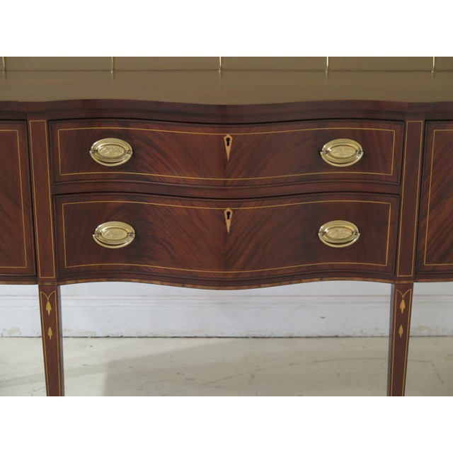 HENKEL HARRIS Mahogany 2367A Inlaid Sideboard w. Gallery Age: C.1985 Details: Model 2376A 29 Finish High Quality...