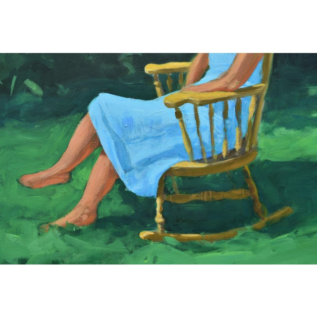 Stephen Remick Painting of a Woman Sitting in a Rocking Chair Outside For Sale - Image 4 of 12