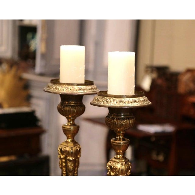 19th Century French Brass Gilded Repousse Pic-Cierges Candleholders - a Pair For Sale - Image 4 of 8