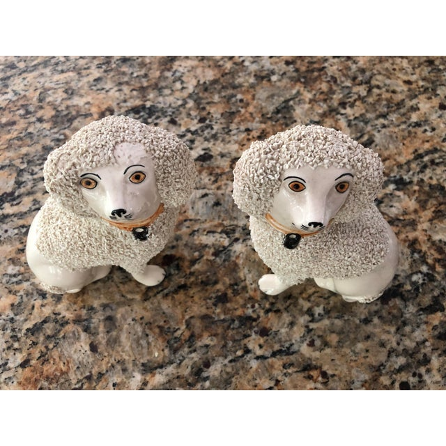 Antique Staffordshire Poodle Dog Figurines- a Pair For Sale - Image 11 of 13