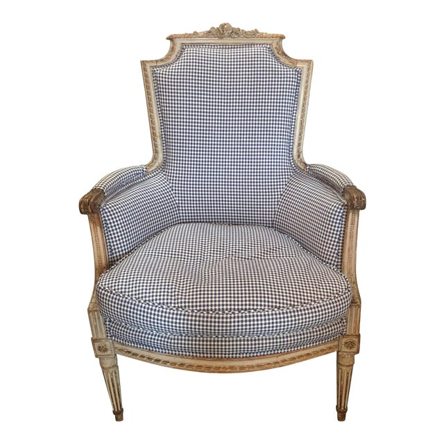 18th Century French Louis XVI Style Carved and Painted Bergère For Sale
