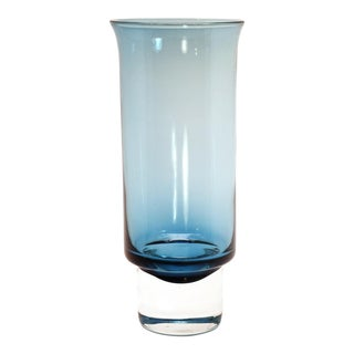 Aseda Sweden Mid-Century Modern Blue Crystal Glass Vase For Sale