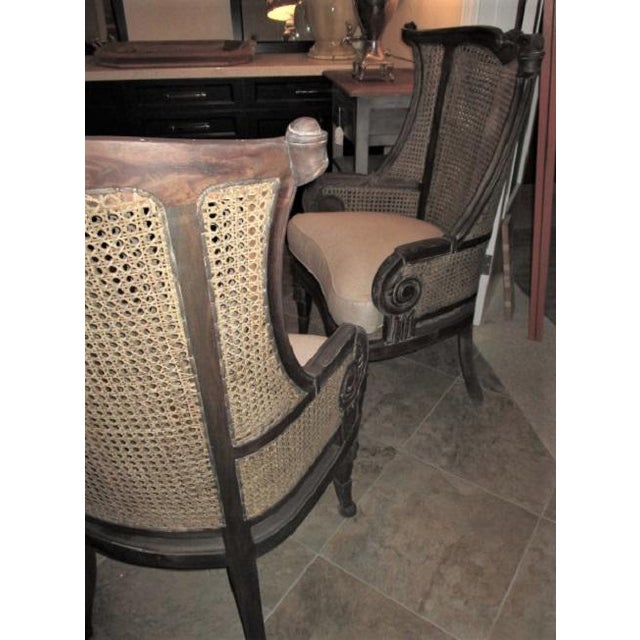 Caning Modern Off White Linen Wingback Chairs French Style Cane and Mahogany Accent Chairs- A Pair For Sale - Image 7 of 9