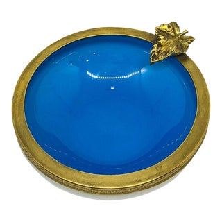 Vintage Blue & Gold Leaf Accent Round Dish