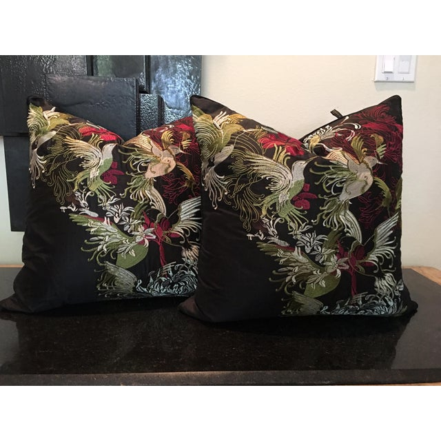 Hollywood Regency Pair of Rodeo Home Beverly Hills Embroidered Flora and Fauna Throw Pillows For Sale - Image 3 of 9