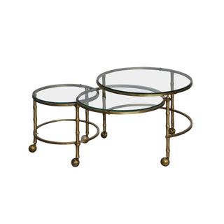 1960s Hollywood Regency Solid Brass Faux Bamboo Nesting Table For Sale