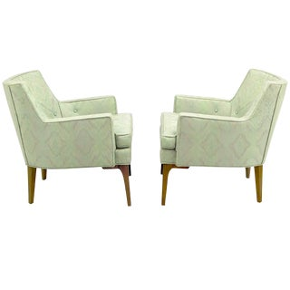 Pair of Barrel-Back Club Chairs in Ikat Upholstery For Sale