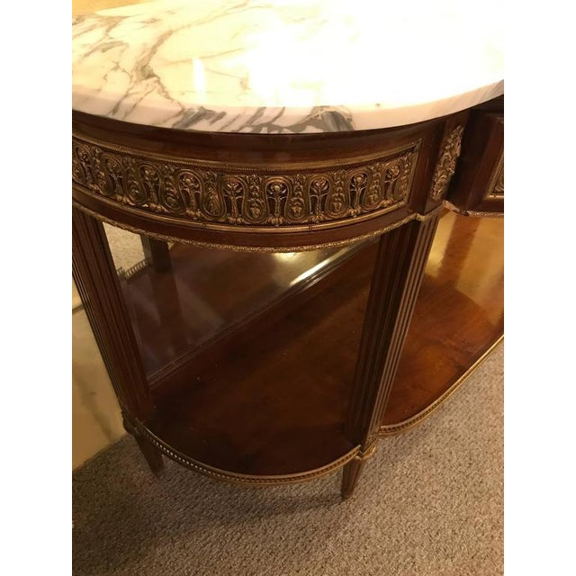 Brown Jansen Style Marble-Top Bronze Mounted Consoles - a Pair For Sale - Image 8 of 12