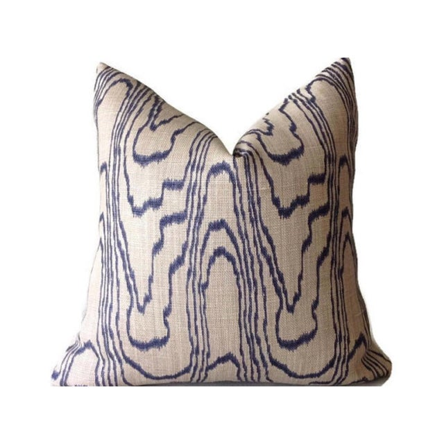 """Groundwork's and Lee Jofa pillow covers in blue """"slate"""" swirl linen, with ivory linen backing. 22"""" x 22"""""""