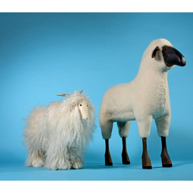 Tan Vintage Sheep or Mountain Goat With Natural Horns, Made by Hand Circa 1960s For Sale - Image 8 of 10