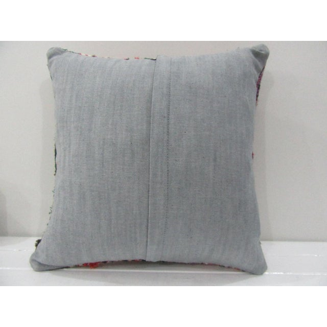 Contemporary Vintage Handmade Green and Red Striped Turkish Kilim Pillow Cover For Sale - Image 3 of 4