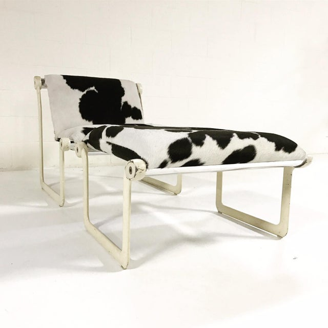 Forsyth One of a Kind Morrison & Hannah for Knoll Chair & Ottoman Restored in Black & White Brazilian Cowhide For Sale - Image 11 of 11