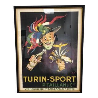 Michel Liebeaux Framed Lithograph of Turin Sport Poster