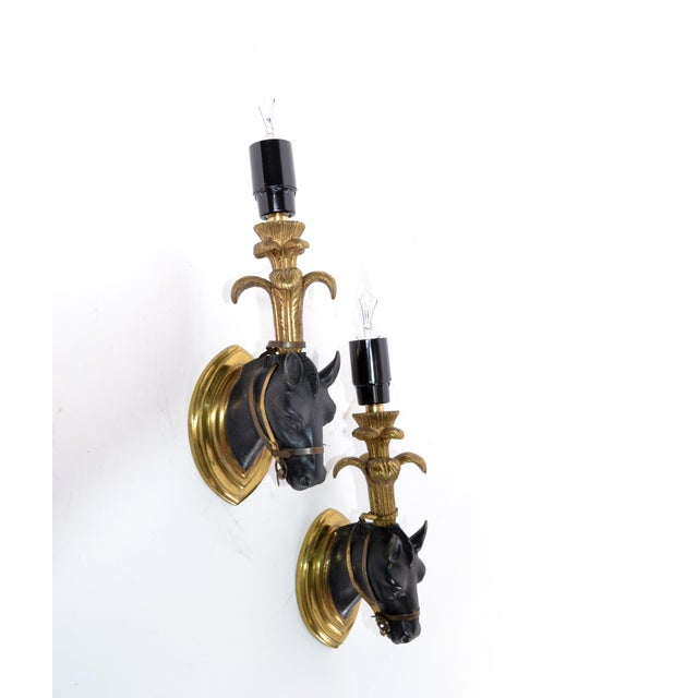 Bronze French Mid-Century Modern Black & Gold Bronze Horse Sconces, Wall Lights - Pair For Sale - Image 8 of 13