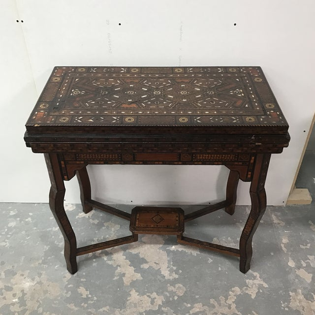 Boho Chic Antique Syrian Inlaid Game Table For Sale - Image 3 of 11