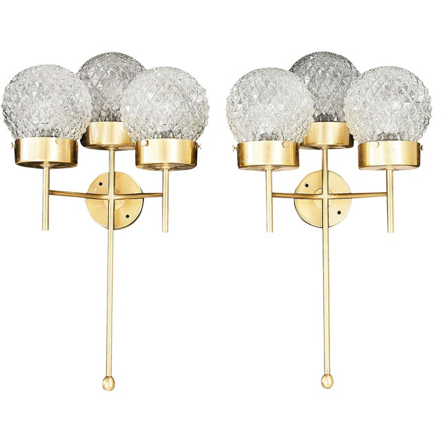 Large and Rare Pair of Wall Lights by Hans-Agne Jakobsson For Sale