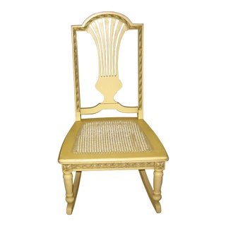 Vintage Childs Chic Shabby French Provincial Cane Rocking Chair For Sale