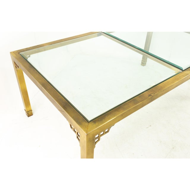 1960s Mastercraft Mid Century Solid Brass and Glass Expanding Dining Table For Sale - Image 5 of 13