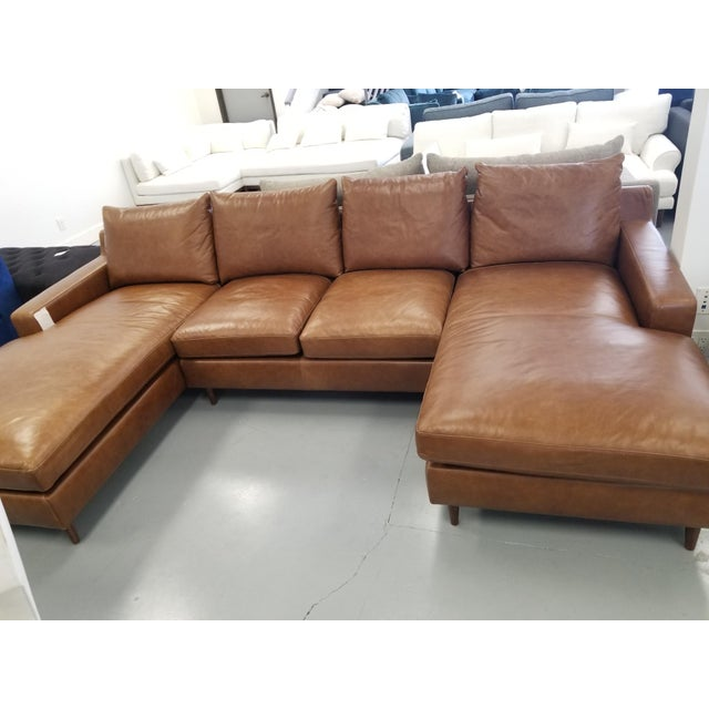 Mid-Century Modern Brown Leather U-Shaped Sectional Sofa For Sale - Image 3 of 8