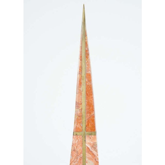 Orange Pair of Bronze Inlay and Stone Obelisks by Casa Bique For Sale - Image 8 of 10
