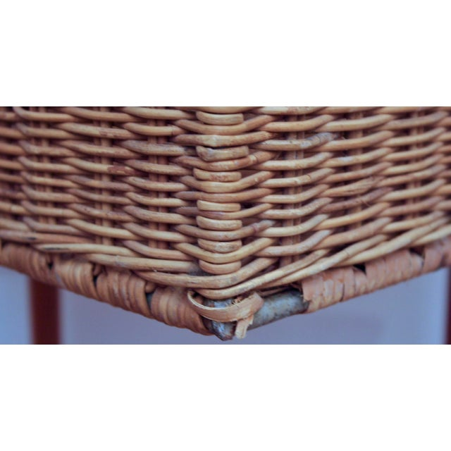 Tan Modernist Wicker Cube Planter / Side Table For Sale - Image 8 of 13