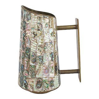 Inlaid Abalone Brass Pitcher For Sale