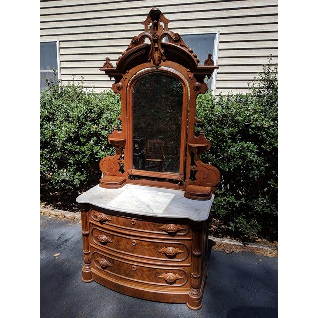 Renaissance Revival 20th Century Renaissance Revival 3-Drawer Marble Top Walnut Dresser & Vanity Mirror For Sale - Image 3 of 13