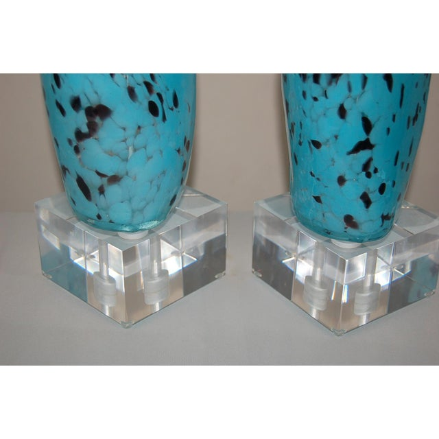 Murano Glass Venus Table Lamps Blue Black For Sale - Image 9 of 12