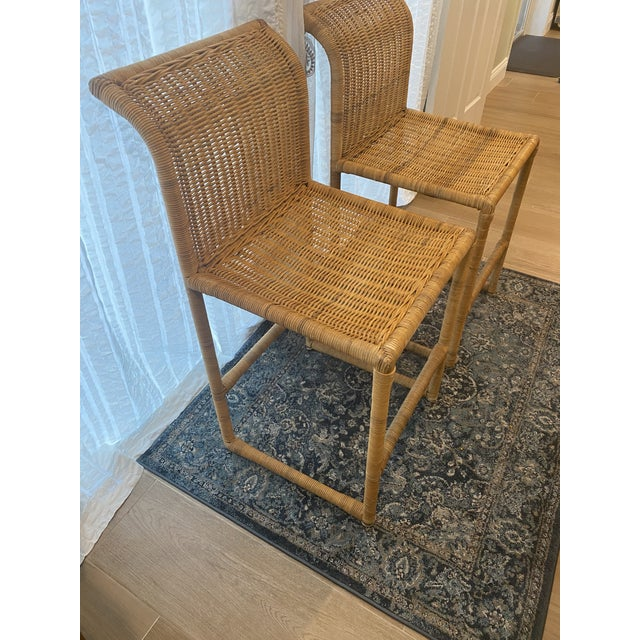 Mid Century Modern Costal Boho Chic Wicker Bar Stools - a Pair For Sale - Image 4 of 13