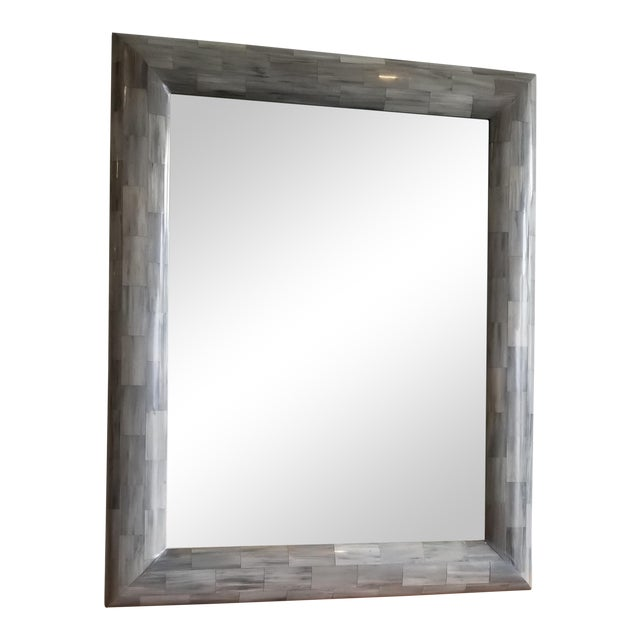 Made Goods Light Gray Faux Horn Mirror For Sale