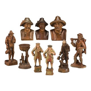 Early 20th Century Collection of Swiss Black Forest Carved Wood Figures & Busts For Sale