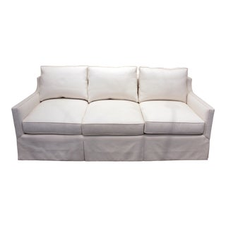 Custom Travis & Co. Three Seat Upholstered White Linen Sofa For Sale