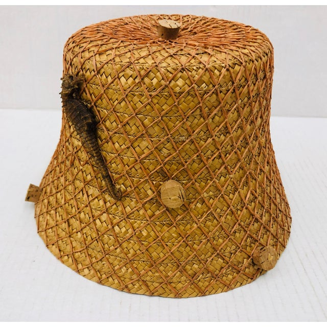 Fabulous Italian Straw Hat circa 1940-1950s. Wrapped in coral colored netting with fantastic slices of cork! Bucket Shaped...