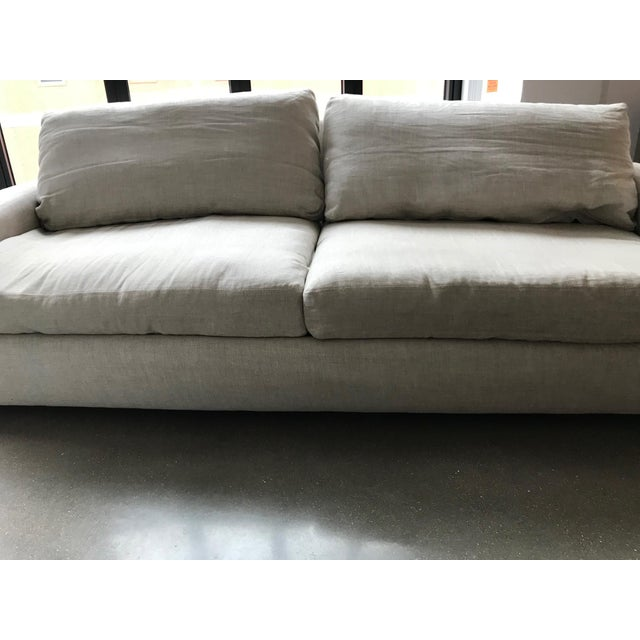Restoration Hardware Restoration Hardware Maxwell Upholstered Sofa in Belgian Linen For Sale - Image 4 of 11