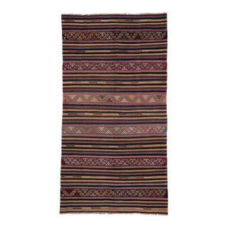 Boho Vintage Black Turkish Kilim Rug with Stripes and Tribal Motifs