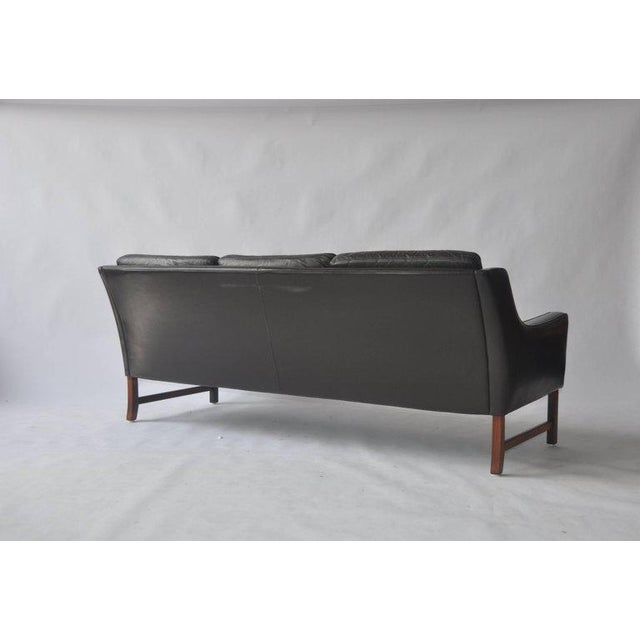 Fredrik Kayser Leather and Rosewood Sofa For Sale - Image 5 of 8