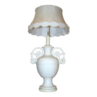 Monumental Antique White Glaze Porcelain Urn Shaped Lamp With Scroll Handles and Lamp Shade For Sale