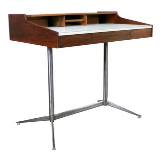 Small Walnut Mid-Century Modern Writing Desk in the Style of George Nelson For Sale