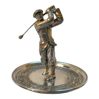 Silver Plated Golfer Decorative Tray