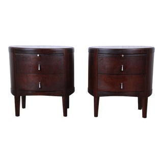Barbara Barry Dark Mahogany Nightstands, Pair For Sale