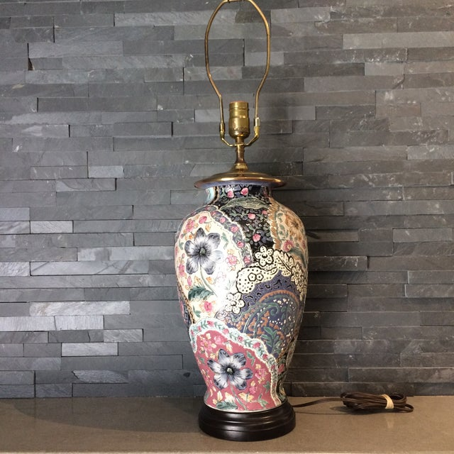 Vintage Ceramic Chinoiserie Floral Lamp For Sale - Image 9 of 9