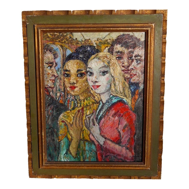 Vintage French Modernist Oil on Canvas by Henri Schick For Sale