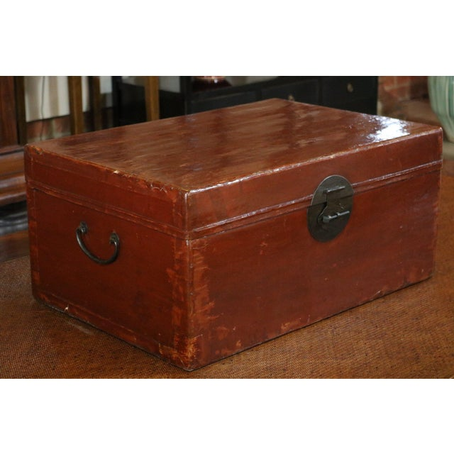 Chinese Red Leather Trunk For Sale - Image 4 of 8