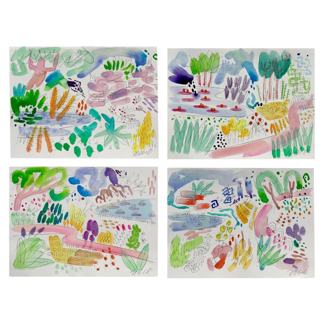 English, Garden, Pond, Original Watercolor Set of Four Paintings For Sale