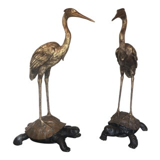 Theodore Alexander Symbolic Crane on Turtle Sculptures- a Pair For Sale