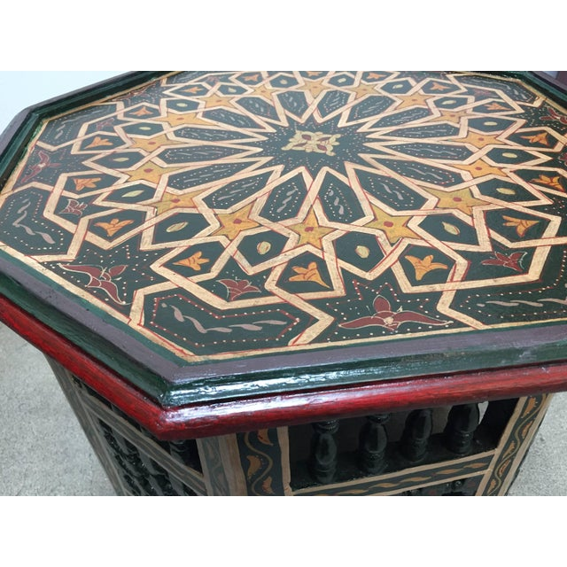 Moroccan Hand-Painted Dark Green Octagonal Side Table For Sale - Image 4 of 10