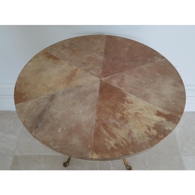 Parcel Gilt Wrought Iron and Goat Skin Tables - a Pair For Sale In Miami - Image 6 of 13